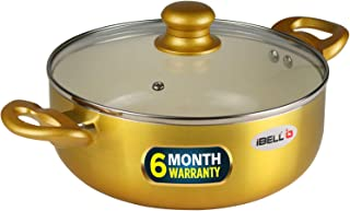 iBELL CS28C Ceramic Casserole 6.0 litres with Glass Lid, Induction & Gas Compatible Cookware, 2.5mm Thickness, 3 Layer Ceramic Interior, Golden Finish