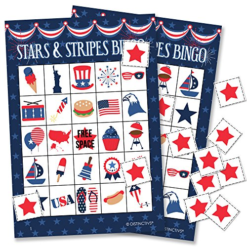 Patriotic Bingo Game for Kids - 24 Players