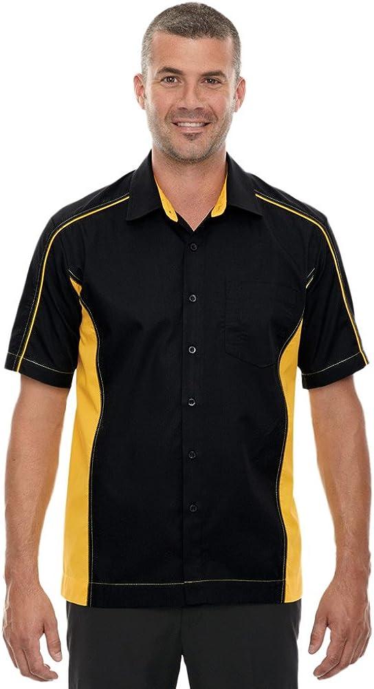 North End Men's Tall Fuse Colorblock Twill Shirt, 2XT, BLK/CMPS GLD 464