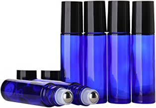 Cobalt Blue Glass Roll on Bottles 10ml [1/3oz] - Sinide 6 Pack Essential Oil Roller Bottle with Stainless Steel Balls Useful for Aromatherapy Perfumes and Lip Balms (Blue)