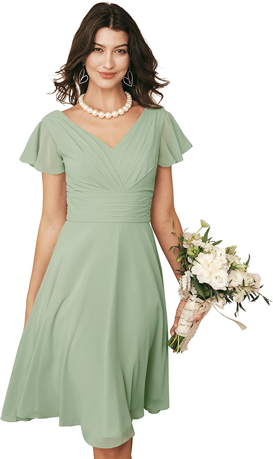 ALICEPUB V-Neck Chiffon Short Bridesmaid Dresses with Sleeves for Women Party Homecoming
