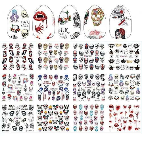 Adesivi Per Unghie Halloween Design Adesivi Per Il Trasferimento Dell'Acqua Grandi Labbra Palme Testa Di Teschio Vampire Rose Nail Art Decalcomanie Tatuaggio Per Decorazioni Fai Da Te Avvolge