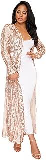 vnytop Women Totem Sequin Applique Long Sleeved Perspective Ankle Length Cardigan Cloak