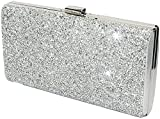 Covelin Women's Handbag Envelope Rhinestone Evening Clutch Bag Hot Silver