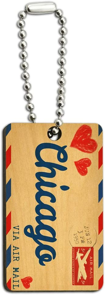 Graphics and More Air Mail Postcard Love for Chicago Wood Wooden Rectangle Key Chain