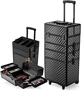 Effleur 7in1 Diamond Textured Portable Cosmetics Makeup Trolley Case, Black