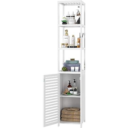 Homfa Estantería Bambú Baño Armario Alto para Cocina Salón Estatería Almacenaje con 3 Estantes 1 Puerta Blanco 33x33x169cm