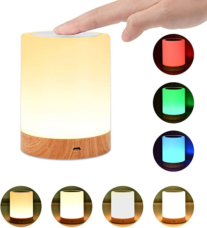 Night Light UNIFUN Touch Lamp For Bedrooms Living Room Portable Table Bedside Lamps With Rechargeable Internal Battery Dimmable 2800K 3100K Warm White Light Color Changing RGB