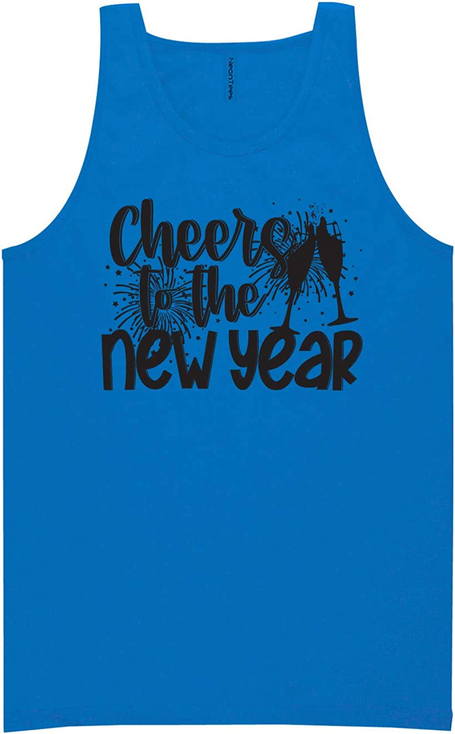 Cheers to The New Year Neon Blue Tank Top - XX-Large