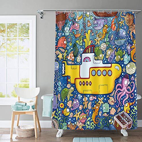 Yellow Submarine Shower Curtain Colorful Marine Life Bathroom Curtain