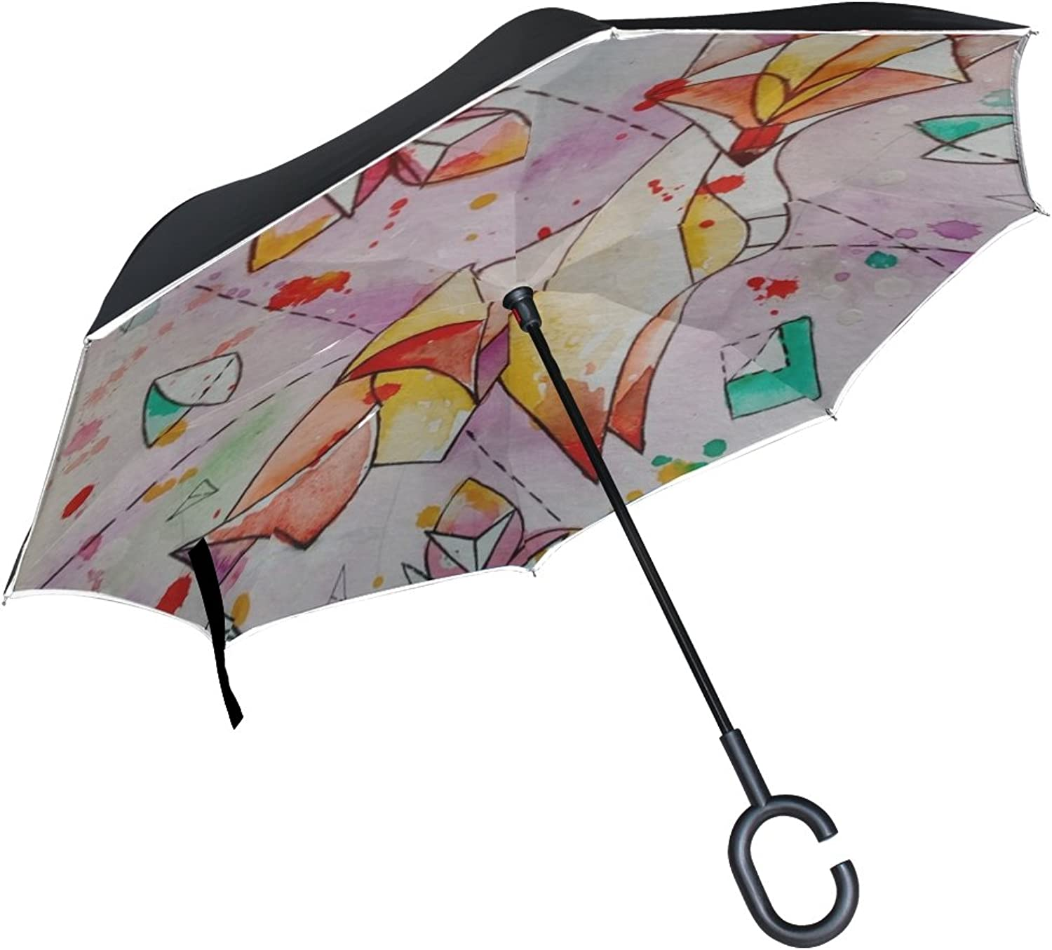 Double Layer Ingreened Figure Origami Fox Chanterelle Watercolor Painting Umbrellas Reverse Folding Umbrella Windproof Uv Predection Big Straight Umbrella for Car Rain Outdoor with CShaped Handle