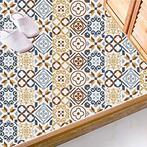 Adhésif décoratif - Autocollant carrelage| Stickers carreau ciment - Rénover mural de salle de bain et cuisine | Facile à appliquer et repositionable | Design Classique | 20x20 cm (20 piéces)