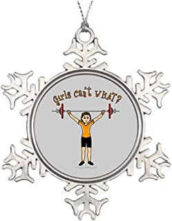 Hipporal Personalised Christmas Tree Decoration Girl Weight Lifter Light Large Snowflake Ornaments