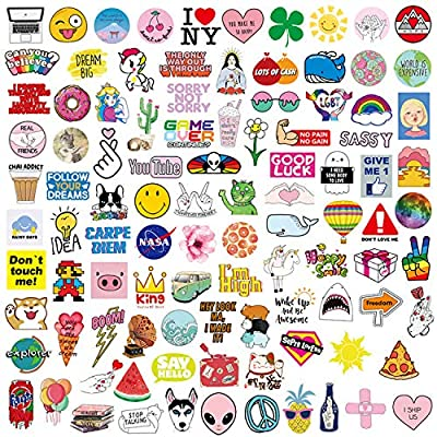 100-Pack VSCO Stickers for Hydro Flask, Cute Waterproof Aesthetic Trendy Teens Girls Stuff, Perfect for Hydroflasks Water Bottles, Laptop, Phone, Guitar, Luggage, Bikes Vinyl Decals from MXHUA