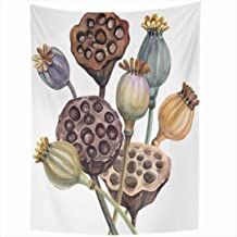 Ahawoso Tapestry 60x80 Inch Green Poppy Bouquet Color Seeds Poppies Autumn Watercolor Nature Aquatic Asian Beautiful Beauty Botanical Brush Tapestries Wall Hanging Home Decor Living Room Bedroom Dorm