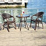 PURPLE LEAF French Patio Bistro Set Rattan Aluminum Large Size 3 Pieces with Armchairs and Tempered Glass Top Bistro Table for Patio Lawn Garden Backyard Deck Porch Balcony Outdoor Bistro Set, Brown