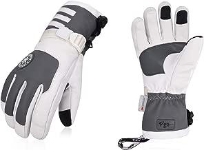Vgo 2Pairs Touchscreen Goatskin Leather Winter Warm Skiing Gloves for Ladies', Waterproof Insert (Grey, SF-GA2446FW)