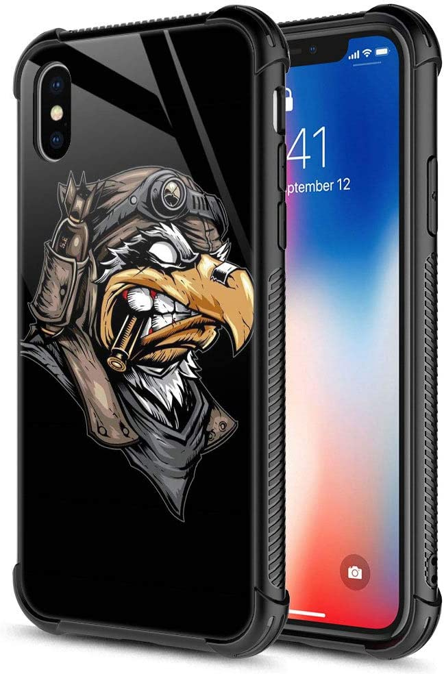 iPhone XR Case, The Eagle is to bite The Bullet iPhone XR Cases, Tempered Glass Back+Soft Silicone TPU Shock Protective Case for Apple iPhone XR