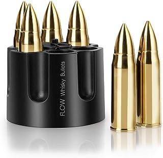 FLOW XL GOLD Whisky-Kugeln mit Munitions-Aufbewahrungshalter, Edelstahl-Whisky-Steine Wiederverwendbare Metall-Eiswürfel in Form von Kugeln, Geschenk für Männer Whisky-Zubehör