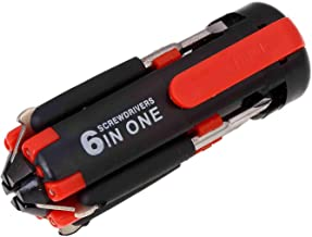 6-In-1 Multi Purpose Screwdriver With Torch Red/Black 4inch