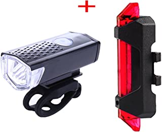 RUNGAO USB Rechargeable Bike Light Set Bicycle Headlight, Tail light, LED Water Resistant Front Light, Easy To Install for Kids Men Women Cycling Safety Flashlight