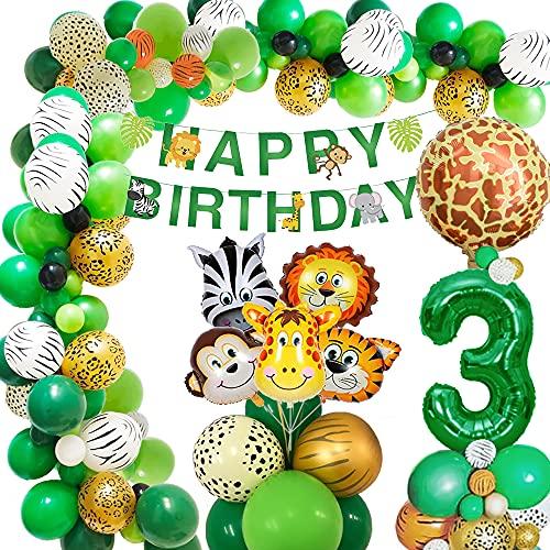 AcnA Selva Decoración Cumpleaños Niño 3 año, Selva Globos Fiesta Cumpleaños niño 3 año with Safari Decoracion Cumpleaños Animales Globos para Infantil Niño 3 Jungla fiesta de cumpleaños Reutilizable