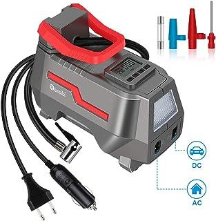 Reesibi 150PSI Compresseur d'air Portable 12V AC 230V DC Pump Mini Pompe 10,3 Bar, Gonfleur Pneu Voiture pour Vélo Balle M...