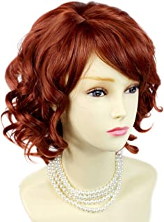NEW !!! Lovely Short Wig Curly Fox Red Summer Style Skin Top Ladies Wigs