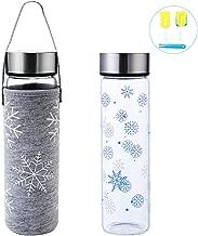 BELICOO Glasflasche Wasserflasche Classic 550 ml BPA Sportflasche Glaswasserflasche Borosilikat auslaufsicher tragbare Reise Sport Edelstahl Abdeckung Neoprentasche und Nylonschwammb/ürste