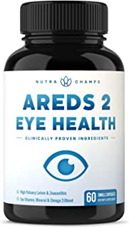 Eye Vitamins with Lutein and Zeaxanthin - AREDS 2 Formula for Macular Degeneration, Strain, Dry Eyes & Vision Support - AR...