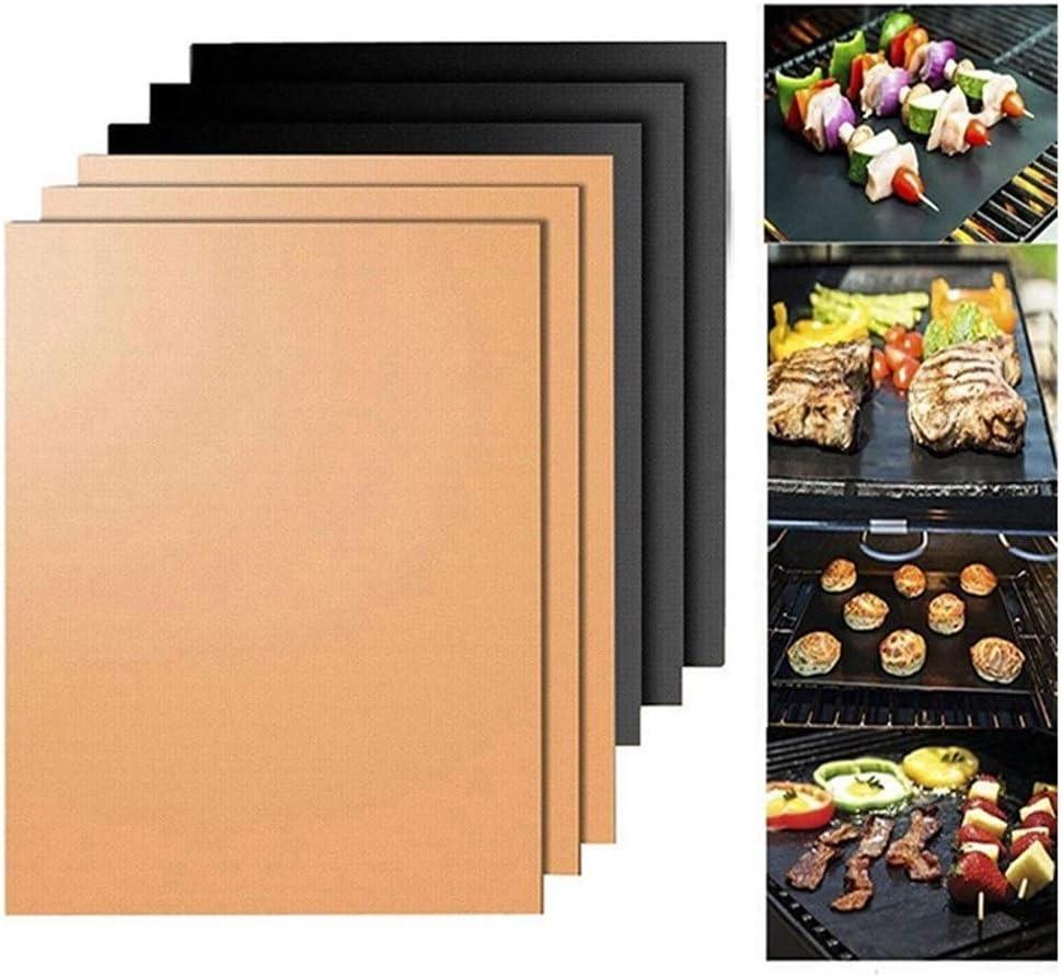 JYWJDH 2PC / Lot antiadhésif Barbecue Grill Mat Barbecue de Cuisson Réutilisable Griller Feuille Résistance à la Chaleur 40 * 33cm Outils de Cuisine (Color : Copper) Black