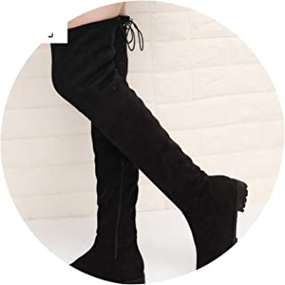 High Boots Winter Boots Women Over The Knee Boots Flat Stretch Sexy Shoes Black