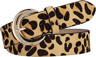 Leopard print Belt for women Width 35mm Haircalf leather Casual Waistband for jeans/dress with Crescent Buckle POYOLEE