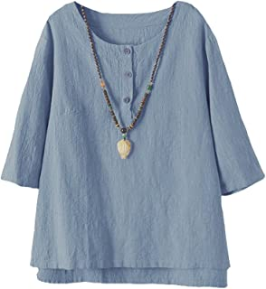Lavnis Women's Linen Tunic Tops Casual Summer 3/4 Sleeve Jacquard Blouse Shirt