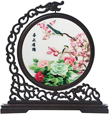 SXYD Screens Handmade Double Sided Embroidery Traditional Chinese Art Decoration Home Desktop Decorative Screen or As A Gift