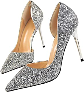 "Pointed High Heel Shoes Fashion Dress Pumps Bridal Wedding Party Glitter Pump 3.5"""