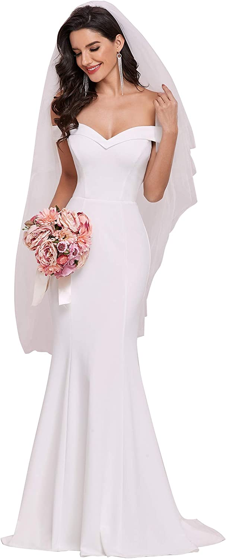 Ever-Pretty Women's Off-Shoulder Mermaid Sweep Train Long Wedding Dresses for Bride 0247