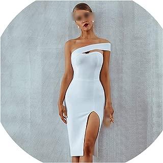 Bodycon Bandage Dress Women Summer Sexy Elegant White Black One Shoulder Midi Celebrity Party Dresses