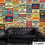 WALPLUS Amovible Autocollant Mural Vintage Signal métallique Collage 2 Packs Art Décalques Vinyle Décoration de Maison DIY Vivant Chambre Papier Peint, 300x280 cm, Multicolore