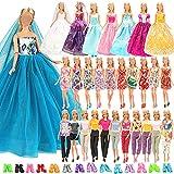Festfun 25 Pcs Vêtement Accessoire de Poupée 3 Robes de Soirée 10 Minis Robes Chics 2 Vêtements avec 10 Chaussures pour Poupée Fille de 11,5 Pouces
