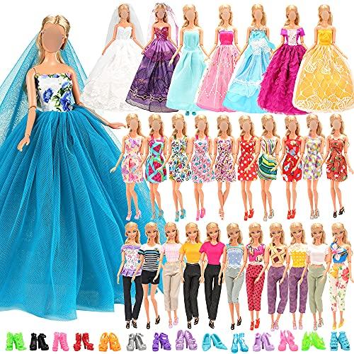 Miunana Lot 25 = 3 Abendkleider + 10 Kleider + 2 Tops & Hosen + 10 Schuhe für Puppen