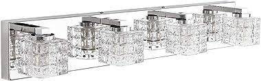 Ralbay Modern Vanity Light Fixtures 4 Lights LED Modern Vanity Light Bathroom Fixtures Over Mirror LED Modern Crystal Glass V