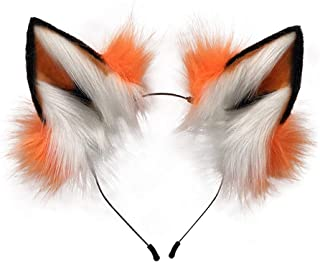 HAOAN Faux Fur Fox Wolf Ears Headband Halloween Christmas Cosplay Party Costume Accessories