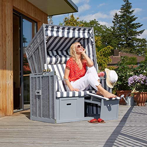 tectake 800805 Strandkorb Ostsee 2-Sitzer, 4-Fach verstellbare Rückenlehne, Volllieger mit Fußbänkchen und Seitentische, inkl. Schutzhülle + Kissen (Grau Weiß | Nr. 403907) - 3