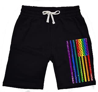 Mens Rainbow LGBT Unicorn V235 Camo Fleece Jogger Sweatpant Gym Shorts