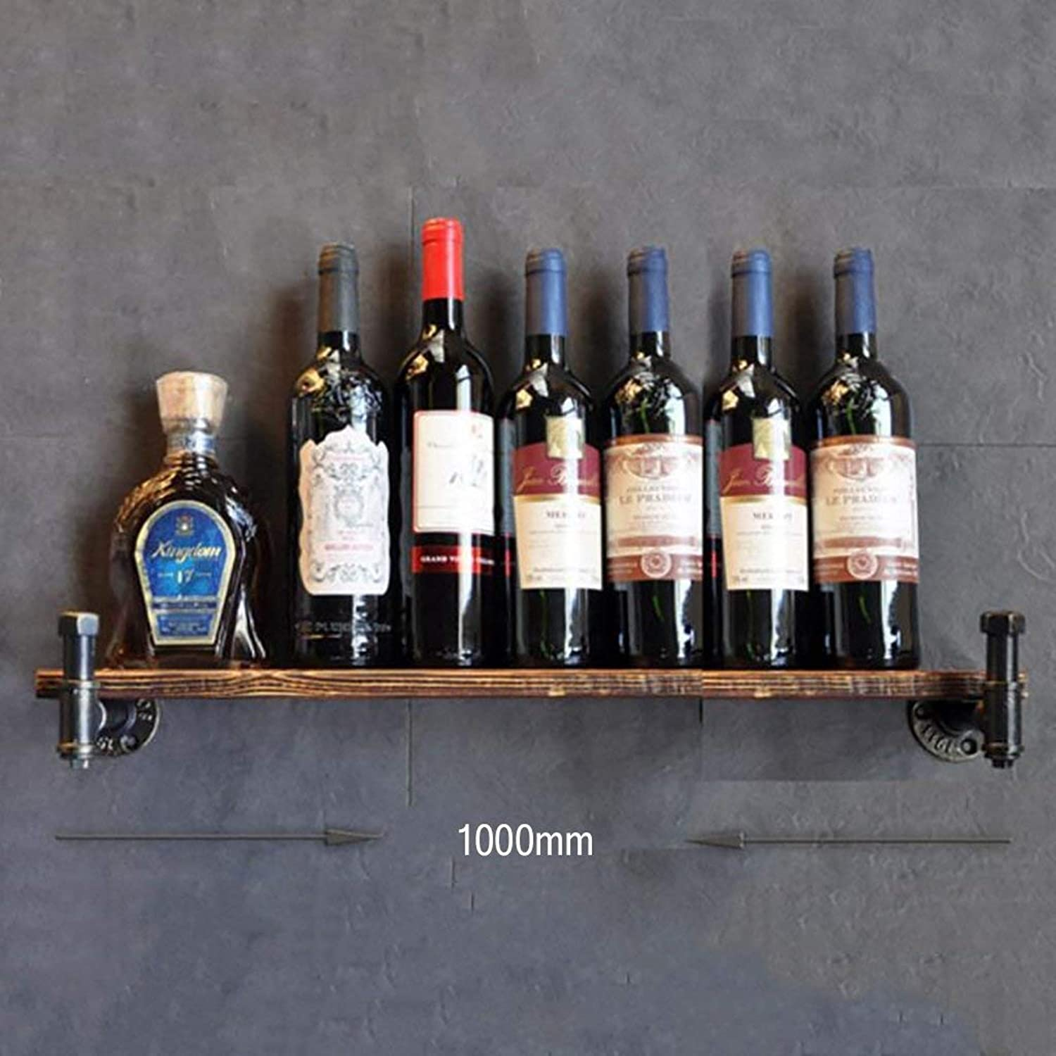 Red Wine Shelf Wine Rack, loft Wrought Iron Pipe Solid Wood Wall Hanging Wine Rack bar Wine Rack, Display Stand (Size   500mm) (color   -, Size   1000mm)
