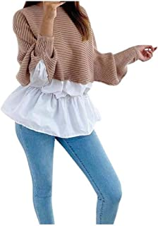 Comaba Womens Smocked Waist Blouse Long-Sleeve Sexy Pullover Tees Top