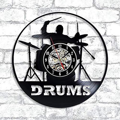 Drums Vinyl Wanduhr Für Jugendliche Mädchen Jungen Dekoration Für Küche Wohnzimmer Beatles Musikinstrumente Schlagzeug Rockband Percussion