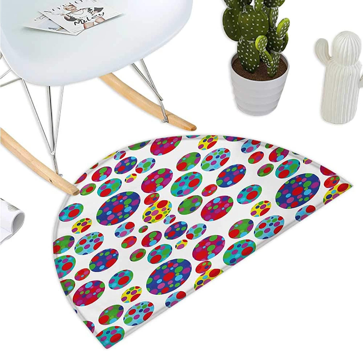 colorful Half Round Door mats colord Big and Little Dotted Dots Repeating Pattern Funky Graphic Illustration Entry Door Mat H 39.3  xD 59  Multicolor