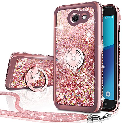 Silverback Moving Liquid Holographic Glitter Case with Ring/Bling Diamond for Samsung Galaxy J3 Emerge / J3 Mission/ J3 Eclipse/ J3 Luna Pro/Sol 2/ J3 2017 -Rose Gold W